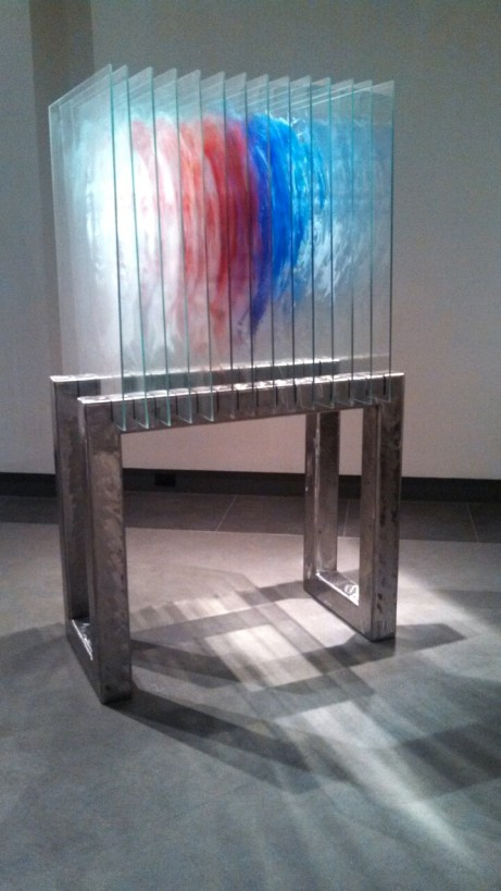Sculptural Painting on Glass and Steel