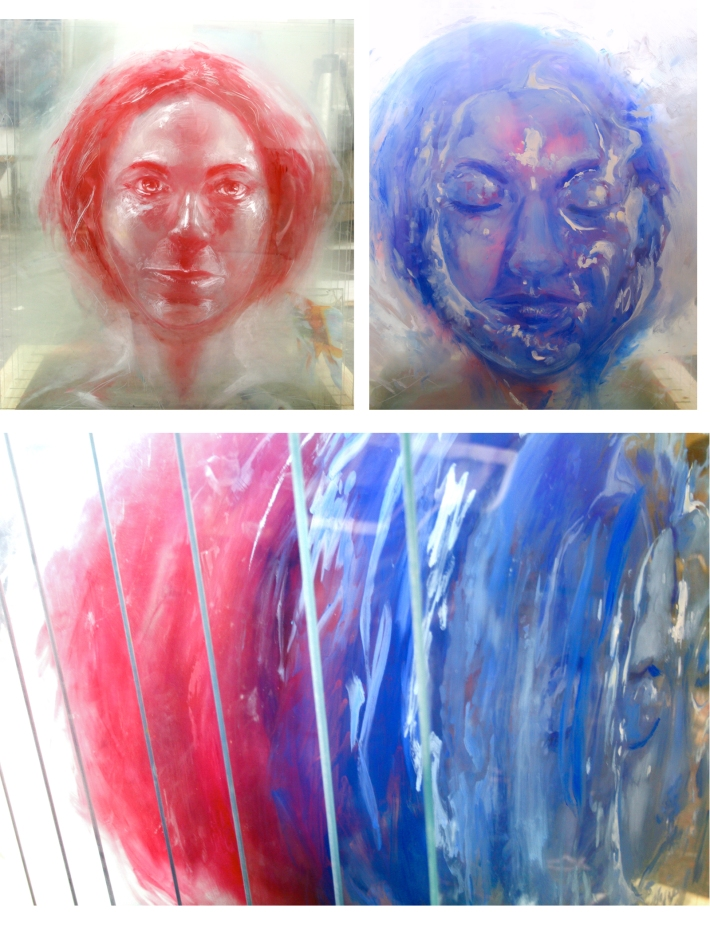 Portrait on 15 panes of glass with Steel base