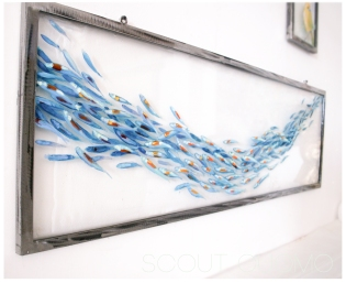 """Shimmering Shoal painting on glass 14"""" x 45"""""""